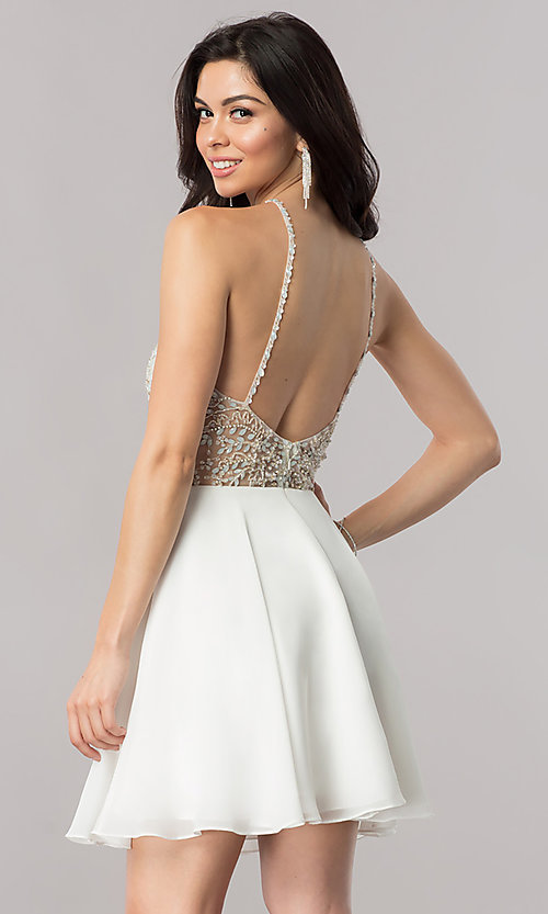 Image of jeweled-illusion short chiffon prom dress. Style: KC-17540 Detail Image 2