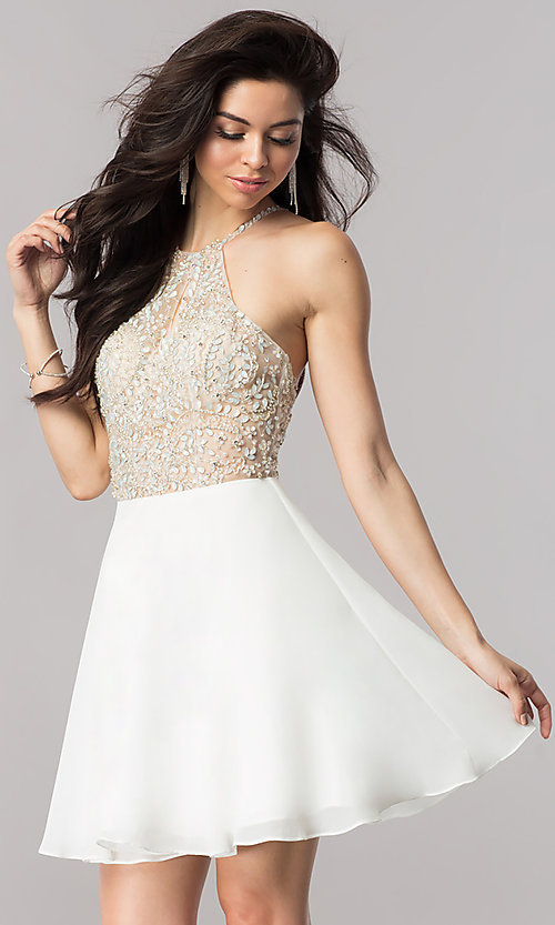 Image of jeweled-illusion short chiffon prom dress. Style: KC-17540 Detail Image 1