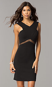 Image of illusion-waist short v-neck homecoming party dress. Style: FA-S8078 Front Image