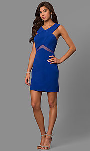 Image of illusion-waist short v-neck homecoming party dress. Style: FA-S8078 Detail Image 2