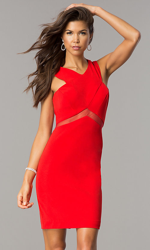 Image of illusion-waist short v-neck homecoming party dress. Style: FA-S8078 Detail Image 3