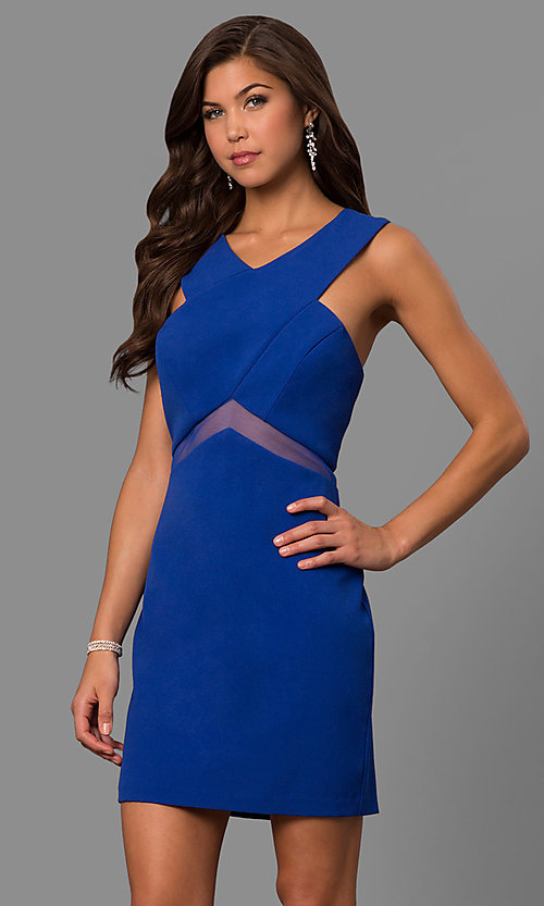 Image of illusion-waist short v-neck homecoming party dress. Style: FA-S8078 Detail Image 1