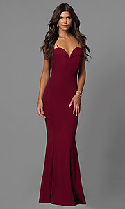 Image of off-the-shoulder long formal dress with straps. Style: MCR-1559 Detail Image 1