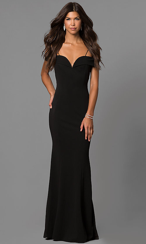 Image of off-the-shoulder long formal dress with straps. Style: MCR-1559 Detail Image 2
