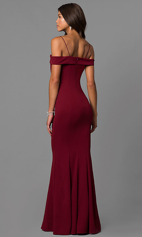 Image of off-the-shoulder long formal dress with straps. Style: MCR-1559 Back Image