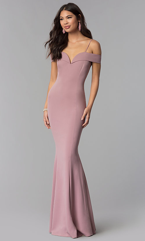 Image of off-the-shoulder long formal dress with straps. Style: MCR-1559 Front Image