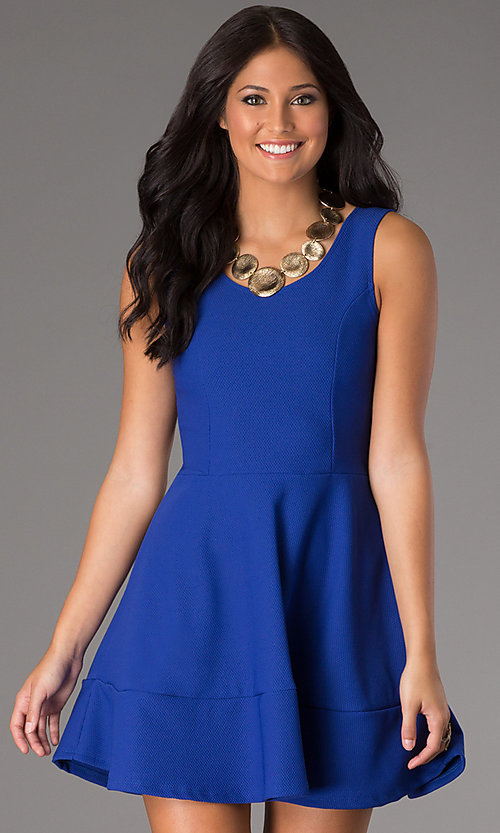 Image of short casual royal blue party dress in cotton. Style: CH-2399w Front Image