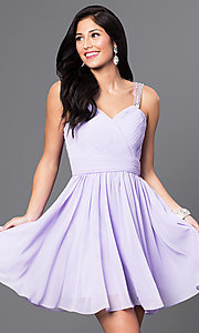 Image of chiffon short white party dress with corset back. Style: DQ-9472w Detail Image 1