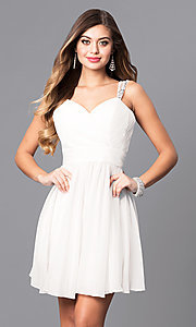 Image of chiffon short white party dress with corset back. Style: DQ-9472w Front Image