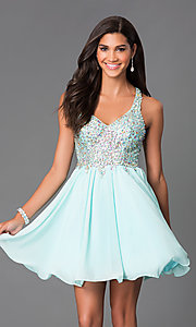 Image of short mint chiffon party dress with beaded bodice.  Style: DQ-8997m Front Image