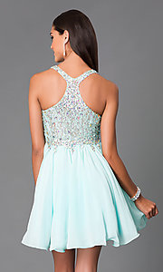 Image of short mint chiffon party dress with beaded bodice.  Style: DQ-8997m Back Image