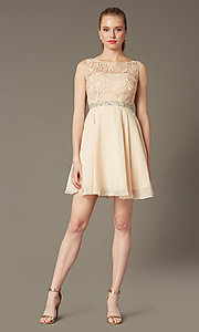 Image of champagne ivory short graduation party dress.  Style: DQ-9659c Detail Image 1