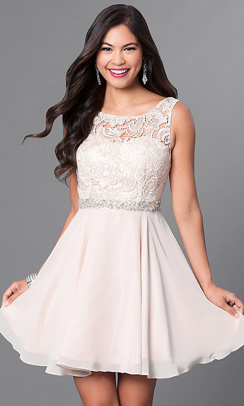 Image of champagne ivory short graduation party dress.  Style: DQ-9659c Front Image