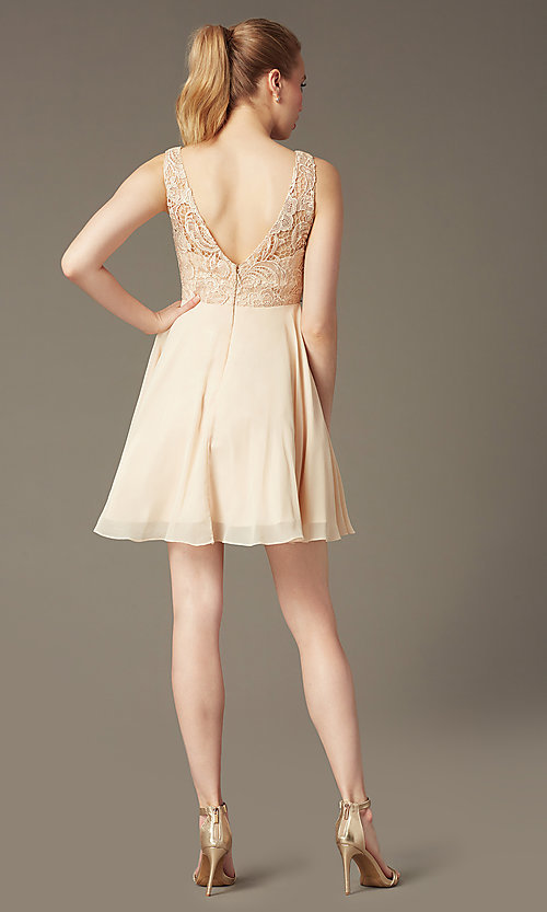 Image of champagne ivory short graduation party dress.  Style: DQ-9659c Back Image