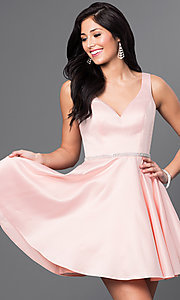 Image of beaded-waist v-neck short homecoming party dress.  Style: DQ-9504c Detail Image 4