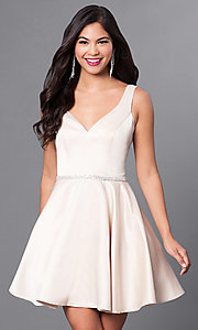 Image of beaded-waist v-neck short homecoming party dress.  Style: DQ-9504c Detail Image 1