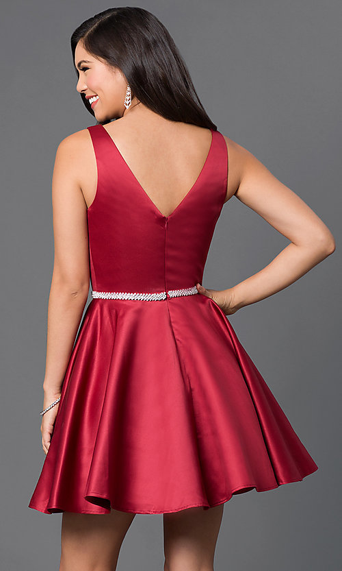 Image of beaded-waist v-neck short homecoming party dress.  Style: DQ-9504c Back Image