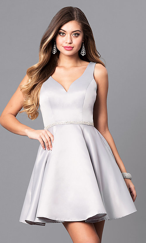 Image of beaded-waist v-neck short homecoming party dress.  Style: DQ-9504c Front Image