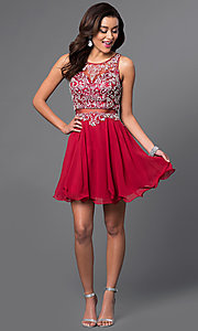 Image of mock two-piece short party dress in blush pink. Style: DQ-9550b Detail Image 3