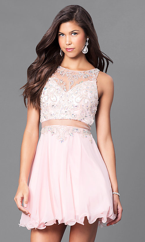 Image of mock two-piece short party dress in blush pink. Style: DQ-9550b Front Image