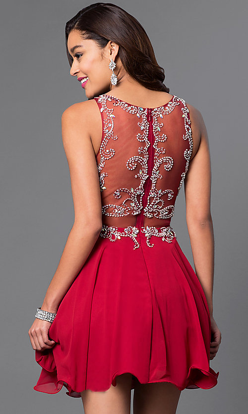 Image of mock two-piece short party dress in blush pink. Style: DQ-9550b Back Image