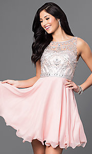Image of short chiffon party dress with beads in blush pink. Style: DQ-9523bl Front Image