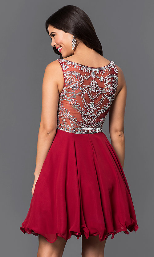 Image of short chiffon party dress with beads in blush pink. Style: DQ-9523bl Back Image