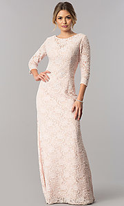 Image of long lace mother-of-the-bride dress with sleeves. Style: AX-1121764 Detail Image 1