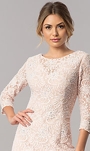 Image of long lace mother-of-the-bride dress with sleeves. Style: AX-1121764 Detail Image 2