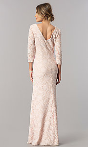 Image of long lace mother-of-the-bride dress with sleeves. Style: AX-1121764 Detail Image 3