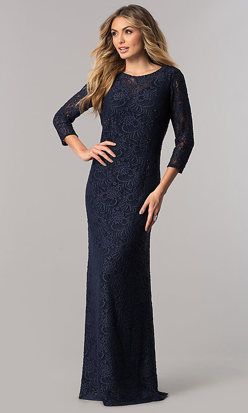 Image of long lace mother-of-the-bride dress with sleeves. Style: AX-1121764 Front Image