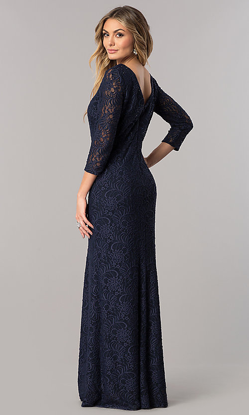 Image of long lace mother-of-the-bride dress with sleeves. Style: AX-1121764 Back Image