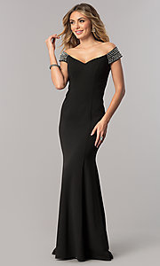 Image of mother-of-the-bride off-the-shoulder long dress. Style: AX-160116 Front Image