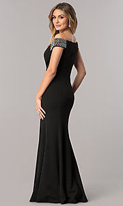 Image of mother-of-the-bride off-the-shoulder long dress. Style: AX-160116 Back Image