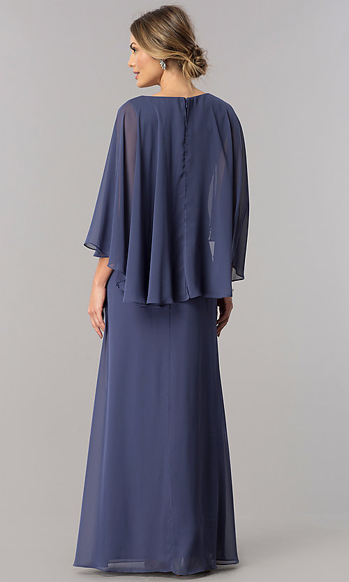 Image of mother-of-the-bride long chiffon dress with cape. Style: AX-170905 Back Image