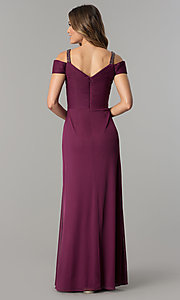 Image of sangria purple long mother-of-the-bride dress.  Style: AX-132871 Back Image