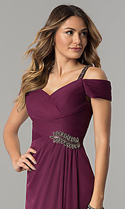 Image of sangria purple long mother-of-the-bride dress.  Style: AX-132871 Detail Image 1