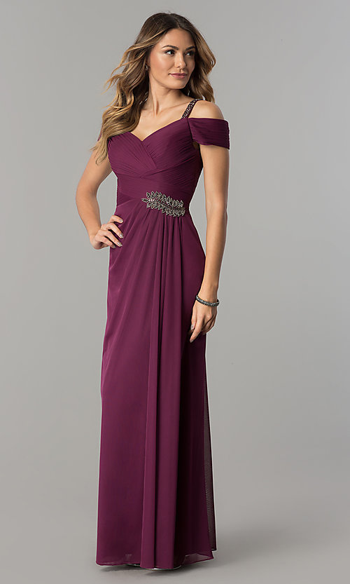 Image of sangria purple long mother-of-the-bride dress.  Style: AX-132871 Front Image