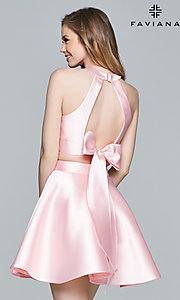 Image of two-piece Faviana homecoming party dress with bow. Style: FA-8060 Back Image