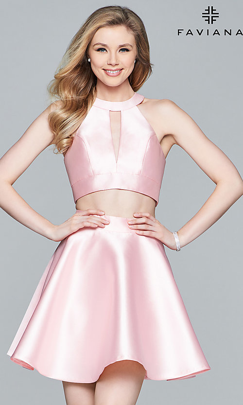 Image of two-piece Faviana homecoming party dress with bow. Style: FA-8060 Front Image