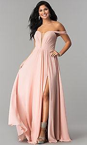 Image of off-the-shoulder long chiffon formal evening dress. Style: FA-8088 Detail Image 2