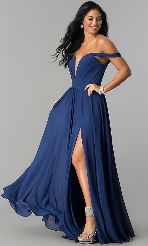 Image of off-the-shoulder long chiffon formal evening dress. Style: FA-8088 Detail Image 1