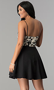 Image of cage-style floral-print party dress by Dear Moon. Style: DMO-J318137 Back Image