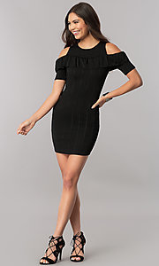 Image of cold-shoulder short striped party dress with ruffle. Style: TM-DR5503-701029 Detail Image 1