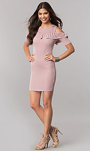 Image of cold-shoulder short striped party dress with ruffle. Style: TM-DR5503-701029 Detail Image 3