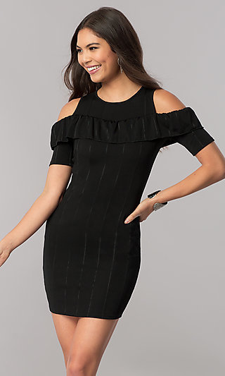 Cold-Shoulder Short Striped Party Dress with Ruffle
