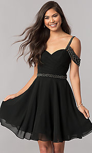 Image of short chiffon cold-shoulder homecoming party dress.  Style: PO-8028 Front Image