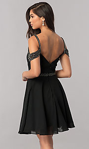 Image of short chiffon cold-shoulder homecoming party dress.  Style: PO-8028 Back Image