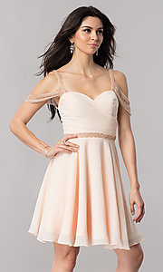 Image of short chiffon cold-shoulder homecoming party dress.  Style: PO-8028 Detail Image 1