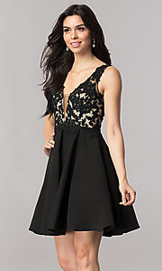 Image of short open-back homecoming dress with lace applique. Style: PO-8004 Detail Image 2